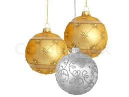 tree ornaments hanging on white background stock photo