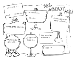 About Me Booklet Template all about me worksheets black and white versions coloring pages