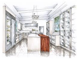 kitchen design sketch boceto cocina acuarela croquis interiores