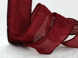 wired faux burgundy burlap ribbon 1 5 wide by the yard weddings