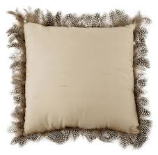 zara home luxurious decorative silk throw pillow with feather trim
