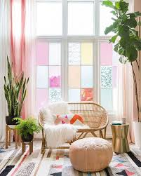 Emily Henderson Rugs Living Room W Lovely Pastel Colored Glass Windows Lots Of Plants