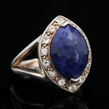 white topaz rings images Sterling silver lapis lazuli and white topaz ring ebth 0&