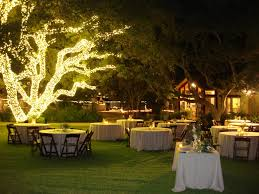 garden wedding decorations night weather red corral ranch