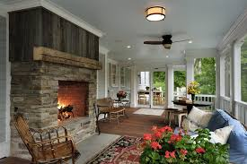 Country Fireplace Screens by Rustic Fireplace Screens Porch Traditional With Stone Fireplace