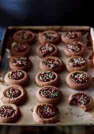 mini chocolate thumbprint cookies recipe pinch of yum