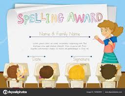 Prize Certificate Template Certificate Template For Spelling Award Stock Vector