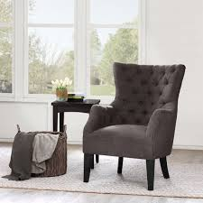 Tufted Living Room Furniture by Amazon Com Button Tufted Wing Chair Brown Hannah Kitchen U0026 Dining