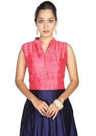 pink and navy blue combination of anarkali is styled with diamante