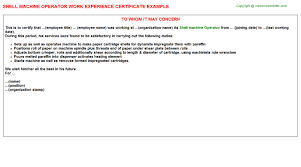 Sample Resume For Machine Operator Position by Shell Machine Operator Work Experience Certificate