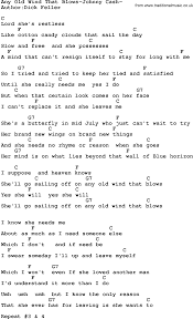 country any wind that blows johnny lyrics and chords