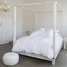 All White Bed Weathered White Curved Headboard Canopy Bed