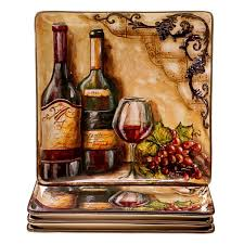 wine bottle plates painted tuscan view 10 75 inch ceramic dinner plates set of