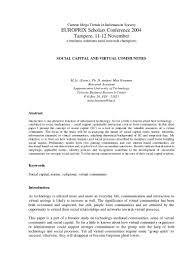 social capital and virtual communities