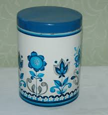 ebay kitchen canisters vintage blue white floral colourful kitchen storage tin canister