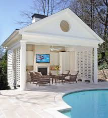 buckhead pool and cabana with fireplace bahamian shutters and