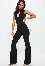 high neck jumpsuit black split front high neck jumpsuit missguided
