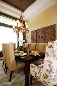 brass wall art dining room transitional with earth tone colors