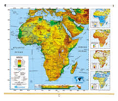 africa map landforms sculptural relief continents and regions map series social