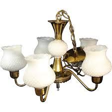 Hobnail Milk Glass Chandelier 5 Arm Chandelier Hanging Light Fixture Brass White Hobnail Shades