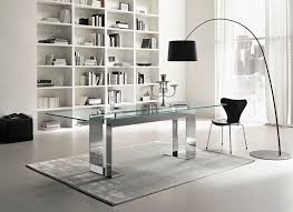 Office Glass Table Design Contemporary Table Glass Chromed Metal Rectangular Miles