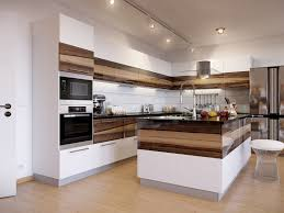 White Kitchen Cabinets Shaker Style Modern Galley Kitchen Design Blue Painted Cabinet Brown Teak Wood