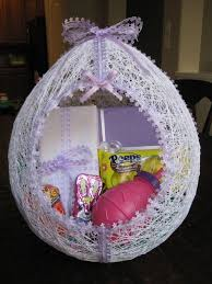 filled easter baskets for sale make an egg shaped easter basket from string hmh designs