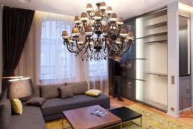 modern interior design design studio apartment with chandelier