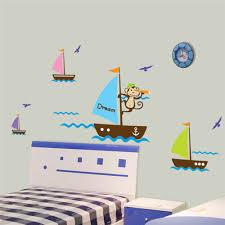 baby room cartoon monkey sailing wall stickers home bedroom decal baby room cartoon monkey sailing wall stickers home