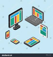 electronic gadgets set computer monitors laptops notebooks tablets stock vector