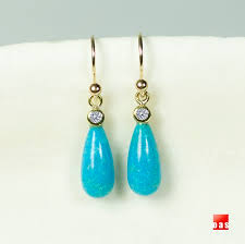 turquoise drop earrings 18k gold turquoise diamond solitaire drop earrings ts