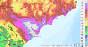 rainfall totals map more than two of in south carolina joaquin heads to sea