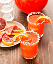 blood orange margaritas for a crowd garnish with lemon