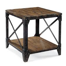 rustic end tables cheap rectangular end table with rustic iron legs by magnussen home wolf