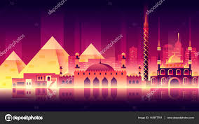 egypt city night neon style architecture buildings town country