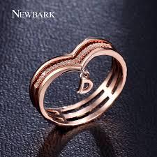 newbark romantic heart shape princess style crown rings multi
