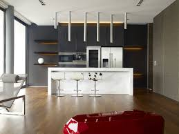 Modern Kitchen With Island Modern Minimalist Kitchen With Island Bar And Modern Cascading