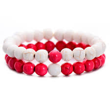 natural beads bracelet images Bohemia red and white natural stone beads bracelet set jpg