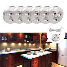 120v under cabinet lighting amazon com b right set of 6 led puck lights under cabinet