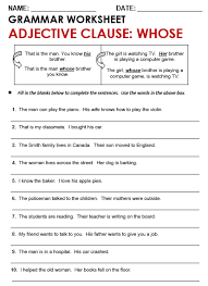 adjective clause worksheet worksheets