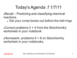 Worksheet 5 Double Replacement Reactions Today U0027s Agenda F 1 7 11 Recall U2013 Predicting And Classifying