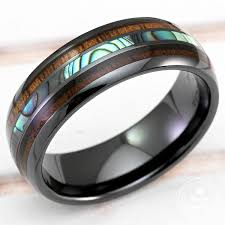 ceramic gold rings images Black hi tech ceramic ring with abalone pau 39 a shell hawaiian koa jpg
