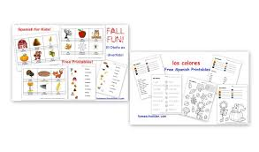 free spanish worksheets for kids fall words and colors