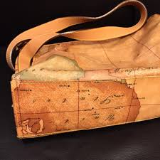Leather Map Alviero Martini Autographed Map Print Nylon Tote With Leather Trim