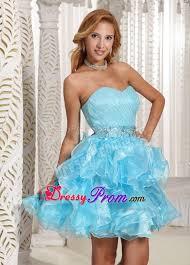 ruched mini aqua blue prom theme dresses with puffy ruffles