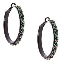 black earrings metallic rainbow chain black hoop earrings icing us