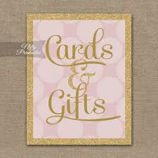 wedding gift table sign cards and gifts table sign pink gold cards gifts sign