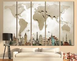 World Map Large by Large World Map Canvas Print Wall Art 13 Or 5 Panel By Zellartco