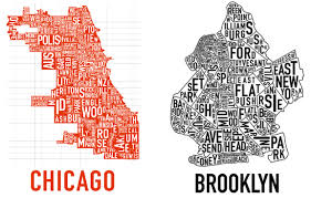 Chicago Neighborhood Map Poster by Black White Yellow 2007 11