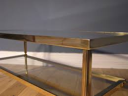 maison jansen style french brass and glass coffee table mid